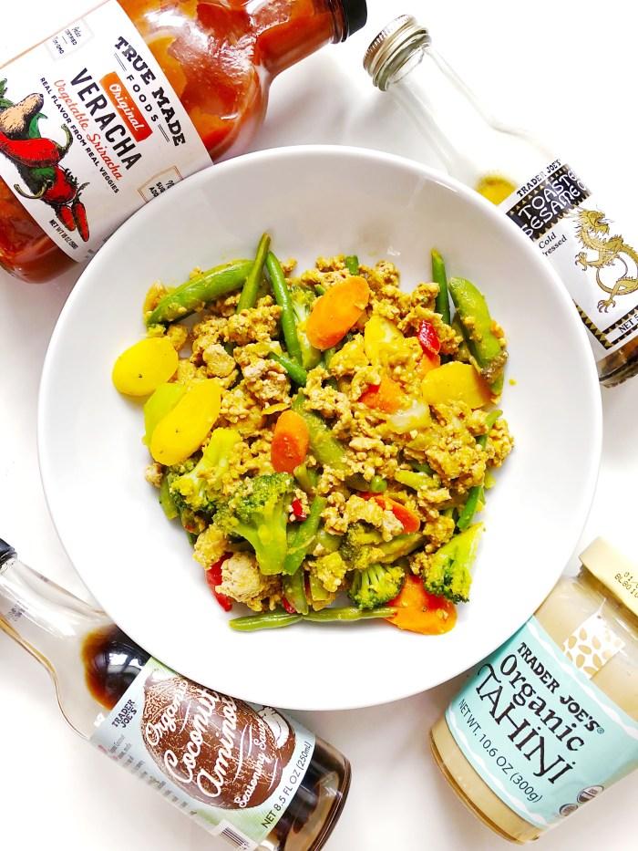 spicy creamy healthy stir fry with veggie sriracha and tahini