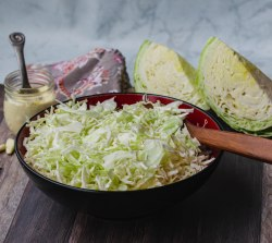 A bowl of coleslaw, with 2 wedges of cabbage and more coleslaw dressing on the side.