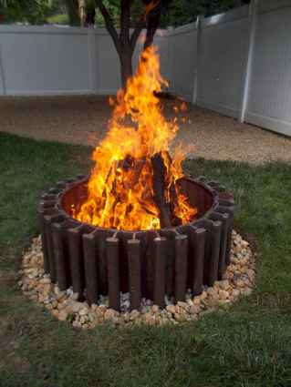 02 easy diy fire pit for backyard landscaping ideas