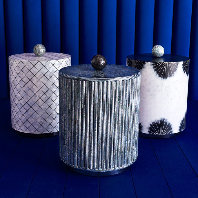 Bethan Gray and Nature Squared finishing side tables in Lapis, Abalone and Goose Feathers