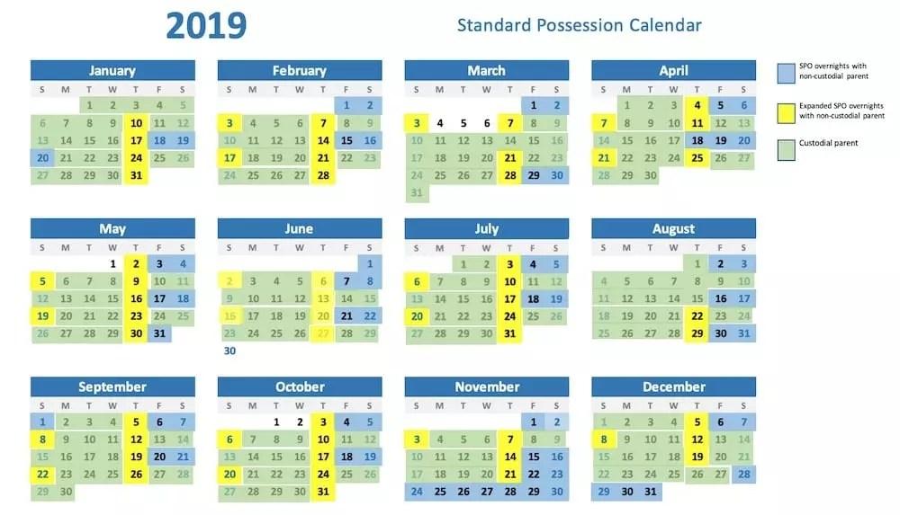 standard possession order calendar 2019