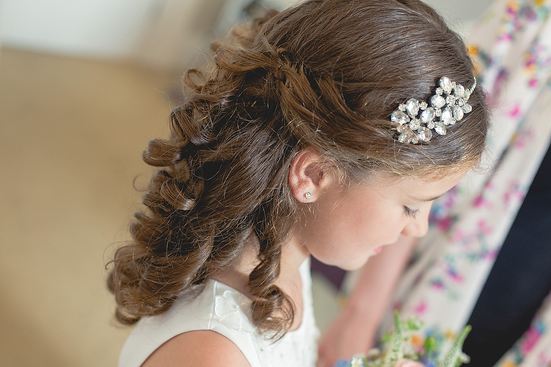 Flowergirl's half-up hairdo | Summer wedding by Whole Picture Weddings