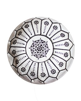 Embroider White Pouf-0
