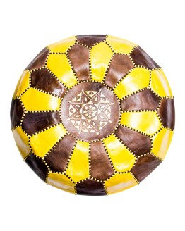 Brown-Yellow Mix Pouf-0