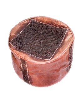 Brown Tan Roller Leather Pouf-0