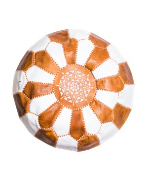 White-Tan Mix Pouf-0