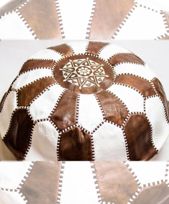 Brown-White Mix Pouf-2494
