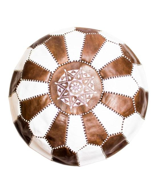 Brown-White Mix Pouf-0