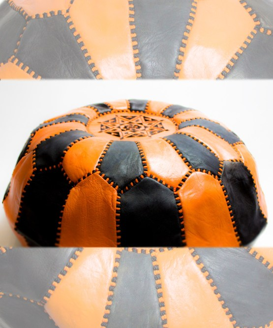 Black-Orange Mix Pouf-2542