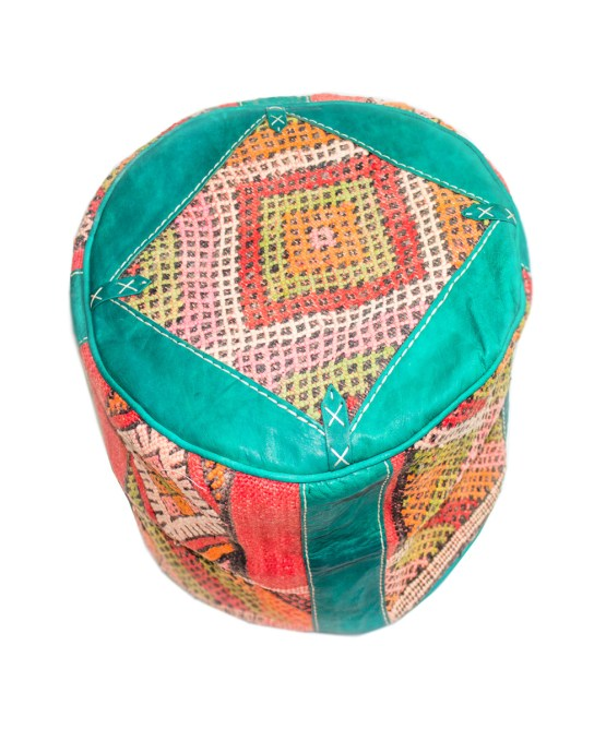 Sea Green Wool Pouf-2518