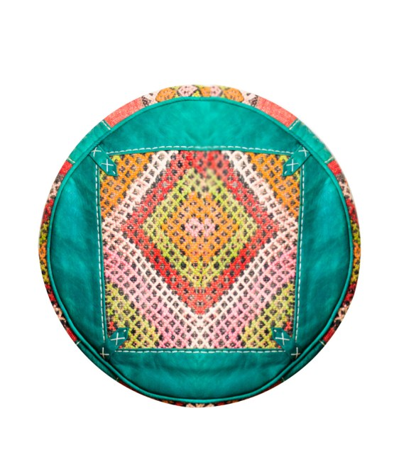Sea Green Wool Pouf-0