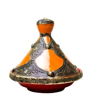 Moroccan tagine decorated with brass-0