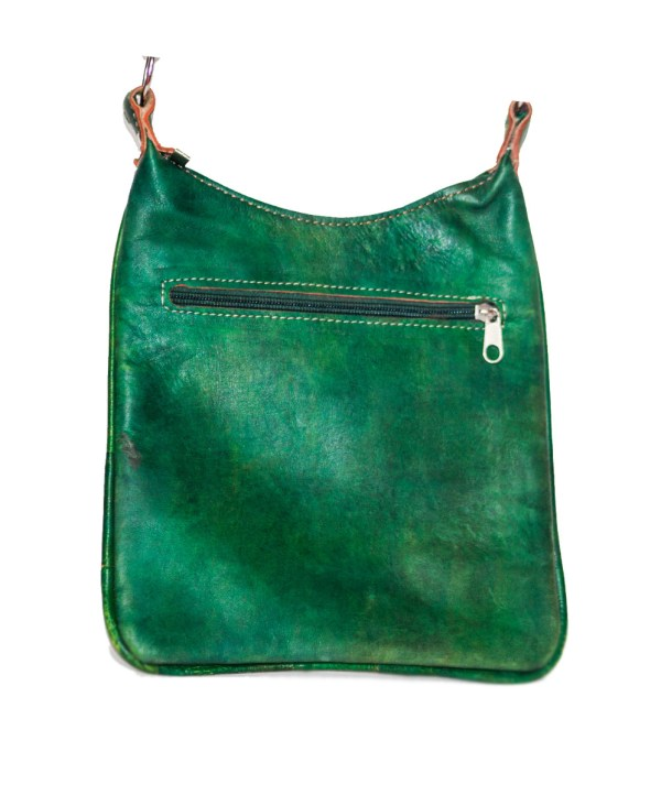 Green leather Saddle bag-3491