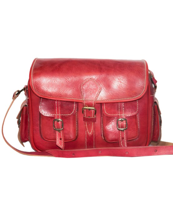 handmade Red Bowler bag-0