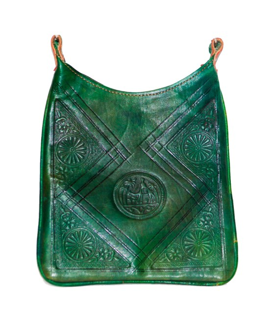 Green leather Saddle bag-0