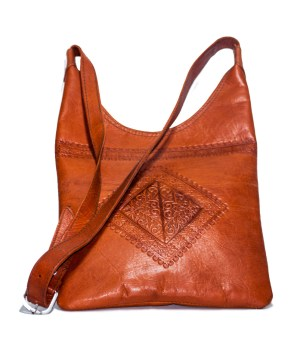 Brown leather Saddle bag-0