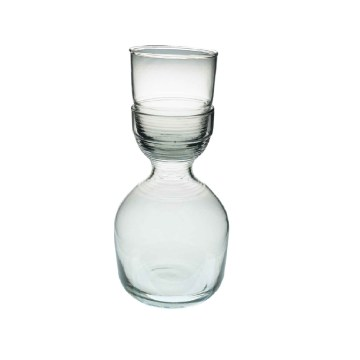 Recycled Glass Ripple Glass & Carafe Set, Short
