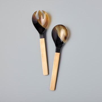 Horn & Bamboo Serving Set