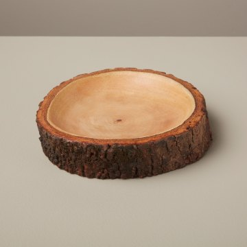 Mango Wood Plate with Bark Small