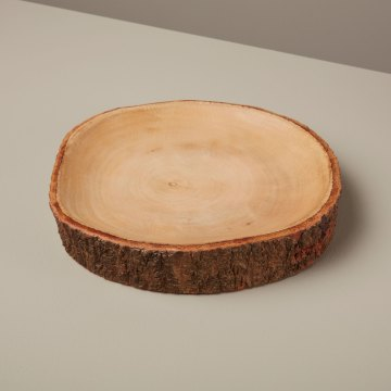 Mango Wood Plate with Bark Large