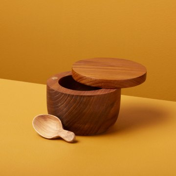 Teak Cellar with Spoon and Pivoting Lid