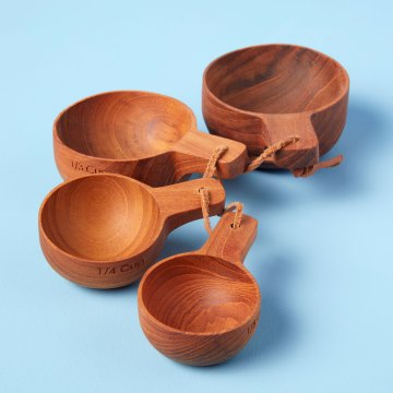 Teak Measuring Cups with Handle, Set of 4