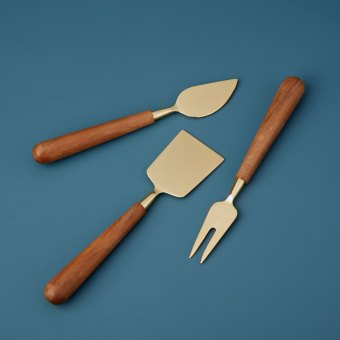 Copper & Wood Cheese Set of 3