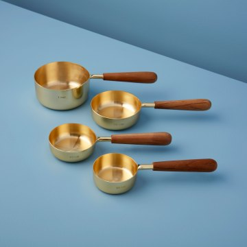 Gold & Wood Measuring Cups, Set of 4
