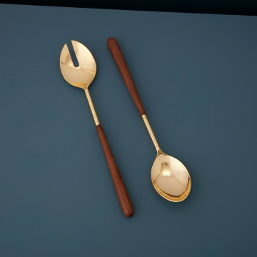 Gold & wood Serving Set