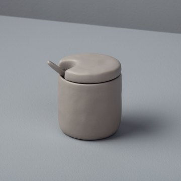 Stoneware Cellar and Spoon Sterling