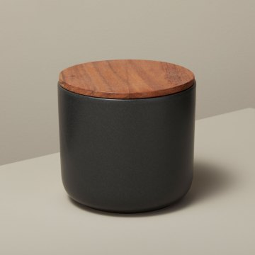 Stoneware Container with Acacia Lid, Large, Black