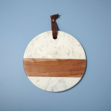 White Marble & Wood Round Board