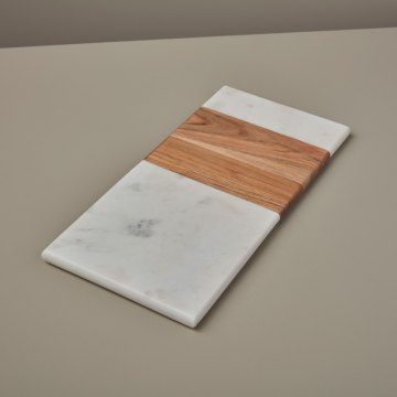 White Marble & Wood Rectangular Board