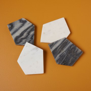 White and Gray Marble Geometric Coasters set of 4