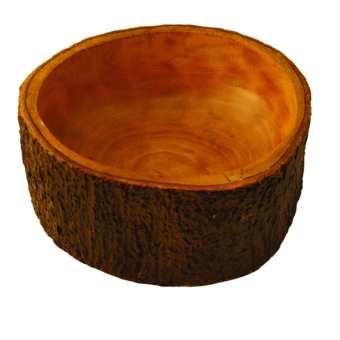 Mango Wood Salad Bowl with Bark Large