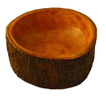 Mango Wood Salad Bowl with Bark Small