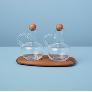 Oil & Vinegar Cruet Set with Acacia Tray