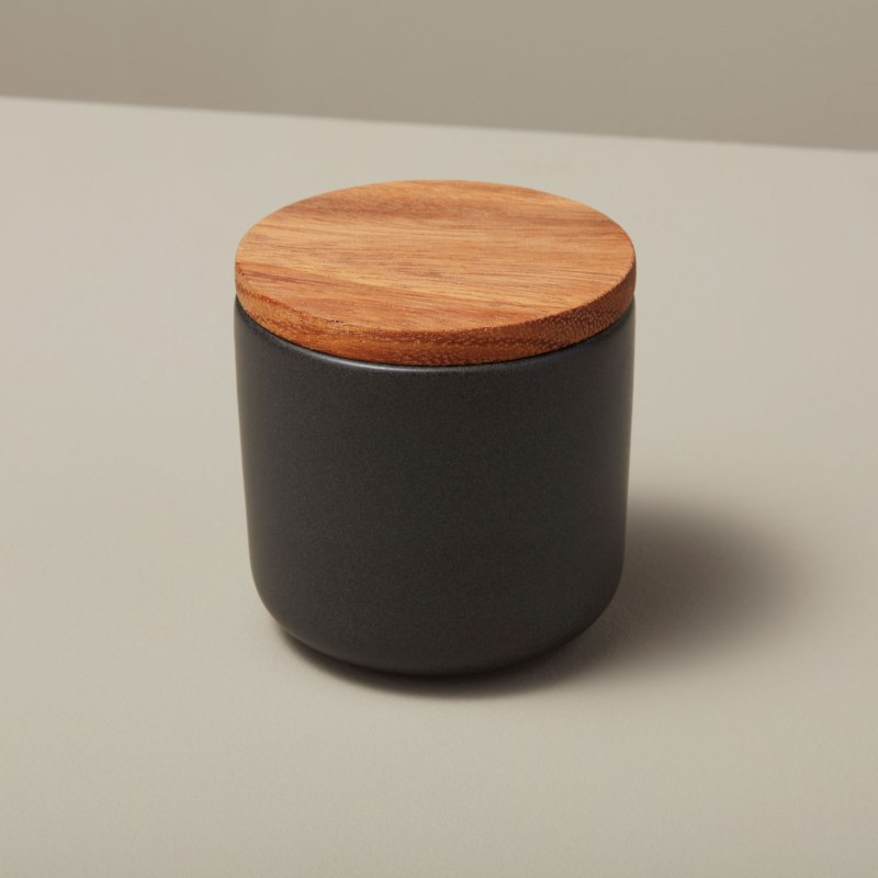 Stoneware Container with Acacia Lid Small Black