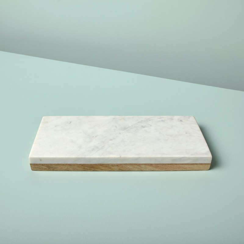 White Marble & Wood Reversible Rectangular Board, Small