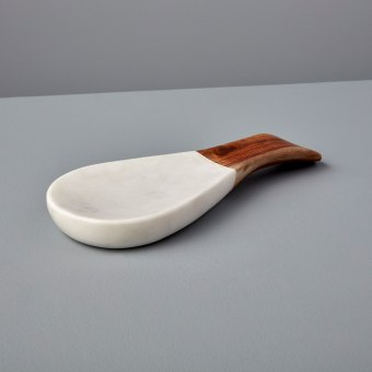 Gray Marble & Wood Spoon Rest