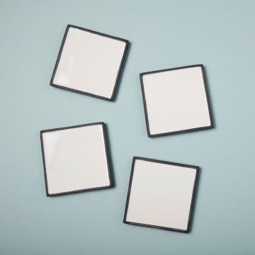 Aluminum & Enamel Square Coasters, Set of 4