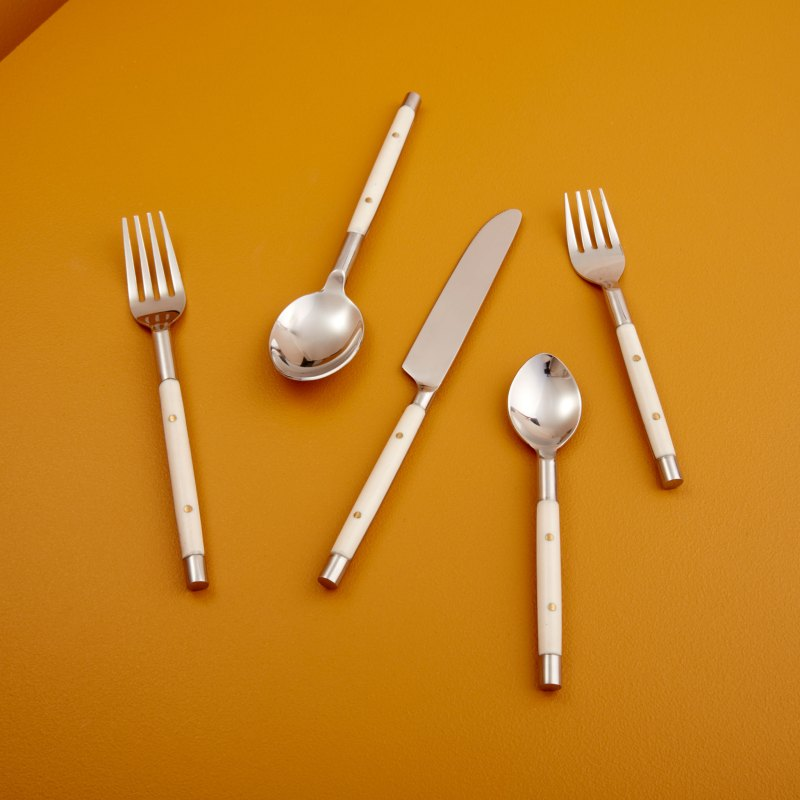Stainless with White Inlay Flatware Set of 5