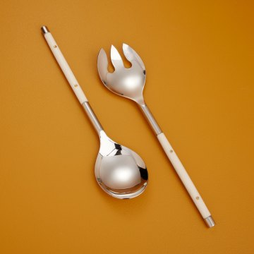 Stainless with White Inlay Serving Set of 2