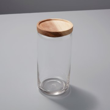 Glass Container with Acacia Lid, Large