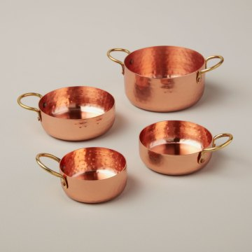 Hammered Copper and Gold Measuring Cups, Set of 4