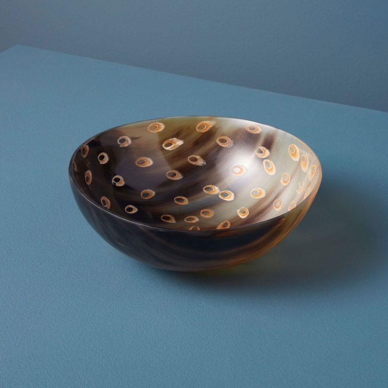 Horn Bowl Peacock Large