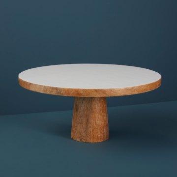 Mango Wood & White Enamel Cake Stand