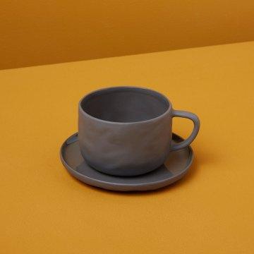 Stoneware Tea Cup & Saucer, Slate