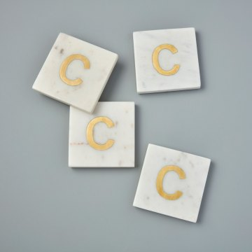 White Marble with Gold Monogram Coasters, S/4 Letter C