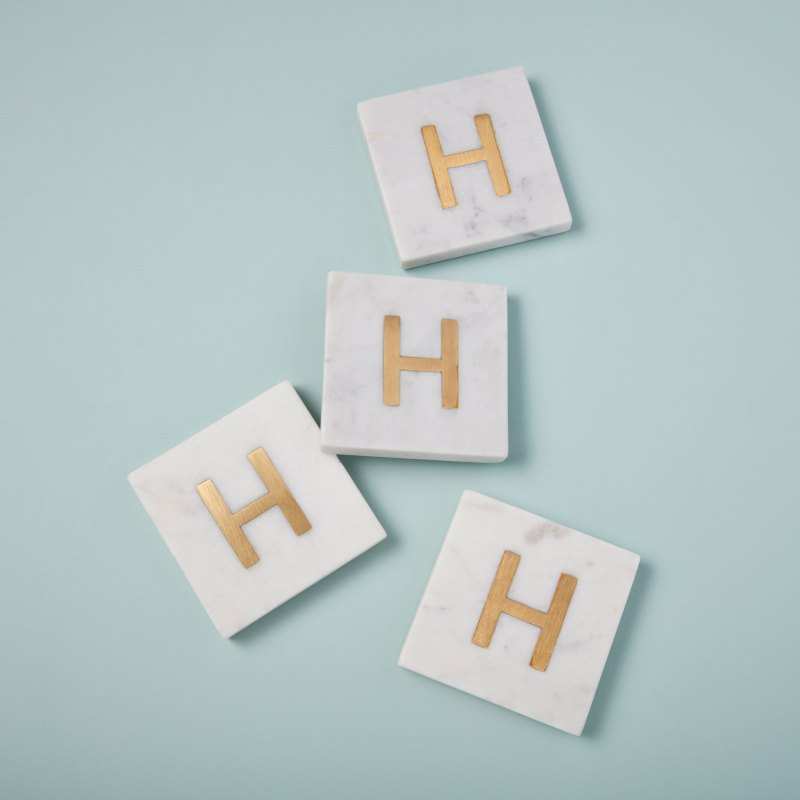 White Marble with Gold Monogram Coasters, S/4 Letter H